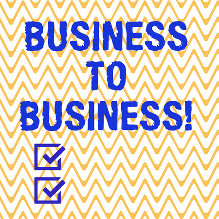 Conceptual hand writing showing Business To Business. Business photo text one business makes a commercial deal with another Horizontal Zigzag Wavy Parallel Line in Seamless Repeat Pattern 版權商用圖片