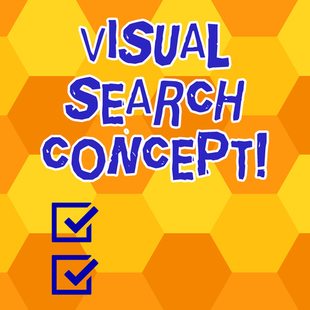 Writing note showing Visual Search Concept. Business photo showcasing perceptual task requiring attention for an object Geometrical Blank Color Shape Hexagon in Seamless Repetition Pattern