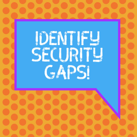 Writing note showing Identify Security Gaps. Business photo showcasing determine whether the controls in place are enough Blank Rectangular Color Speech Bubble with Border photo Right Hand