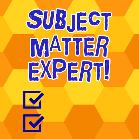 Writing note showing Subject Matter Expert. Business photo showcasing Person who is an authority in a particular area Geometrical Blank Color Shape Hexagon in Seamless Repetition Pattern