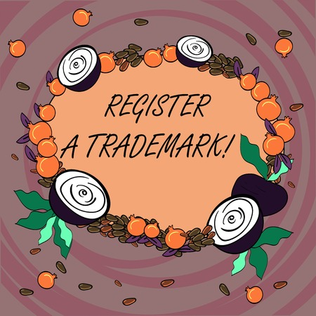 Writing note showing Register A Trademark. Business photo showcasing To record or list as official company brand or logo Floral Wreath made of Tiny Seeds Small Glossy Pomegranate and Cut Beet