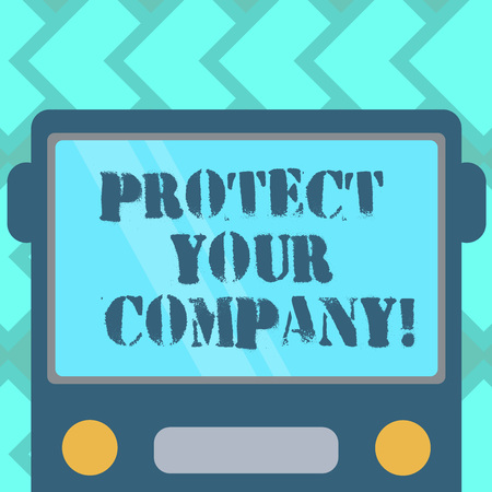 Text sign showing Protect Your Company. Conceptual photo maintaining a positive reputation of the company Drawn Flat Front View of Bus with Blank Color Window Shield Reflecting Stock Photo