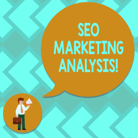 Text sign showing Seo Marketing Analysis. Conceptual photo improve a given website s is ranking on search engines Man in Necktie Carrying Briefcase Holding Megaphone Blank Speech Bubble Stock fotó