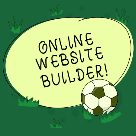 Text sign showing Online Website Builder. Conceptual photo Program or tool that help you construct a website Soccer Ball on the Grass and Blank Outlined Round Color Shape photo