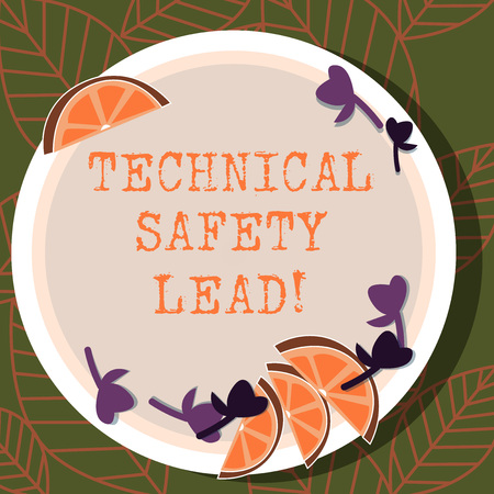 Writing note showing Technical Safety Lead. Business photo showcasing Maintain technical integrity and workplace safety Cutouts of Sliced Lime Wedge and Herb Leaves on Color Plate