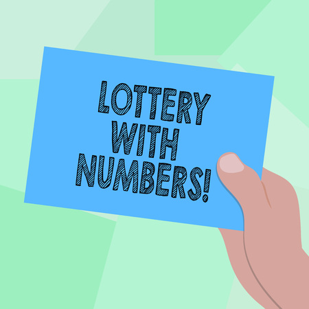 Conceptual hand writing showing Lottery With Numbers. Business photo showcasing game of chance in which showing buy numbered tickets Drawn Hu analysis Hand Holding Blank Color Paper Cardboard