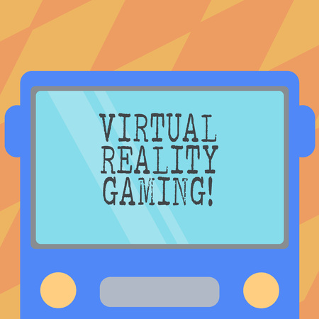 Text sign showing Virtual Reality Gaming. Conceptual photo application of virtual environment to computer games Drawn Flat Front View of Bus with Blank Color Window Shield Reflecting Imagens