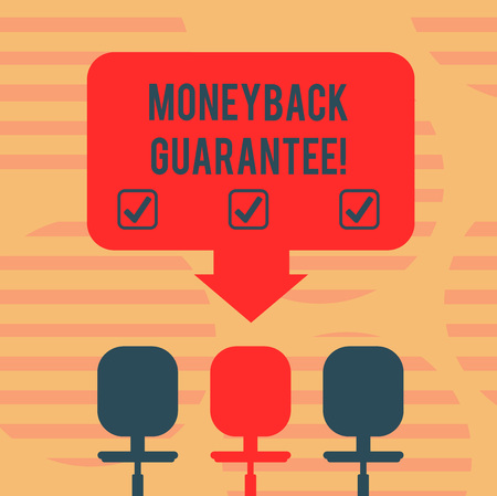 Word writing text Money Back Guarantee. Business concept for refund will be made if customer is not satisfied Blank Space Color Arrow Pointing to One of the Three Swivel Chairs photo Stock Photo