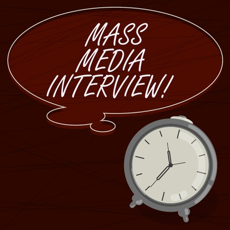 Text sign showing Mass Media Interview. Conceptual photo question and answers for the purpose of broadcast Blank Color Thought Speech Bubble with Outline and Alarm Clock photo