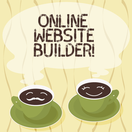 Handwriting text Online Website Builder. Concept meaning Program or tool that help you construct a website Sets of Cup Saucer for His and Hers Coffee Face icon with Blank Steam