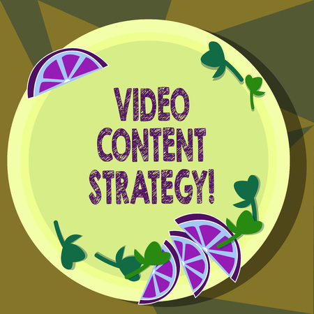 Text sign showing Video Content Strategy. Conceptual photo use specific video format according to buying stages Cutouts of Sliced Lime Wedge and Herb Leaves on Blank Round Color Plate