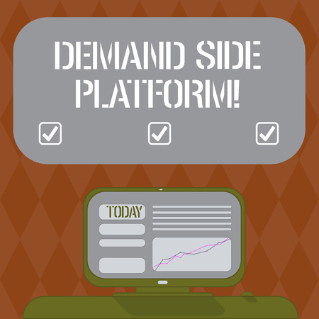 Writing note showing Deanalysisd Side Platform. Business photo showcasing Software that is used for programmatic ad buying Mounted Computer Screen with Line Graph on Desk Blank Color Text Box Stock Photo