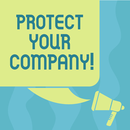 Conceptual hand writing showing Protect Your Company. Business photo showcasing maintaining a positive reputation of the company Color Silhouette of Blank Square Speech Bubble and Megaphone Stock Photo