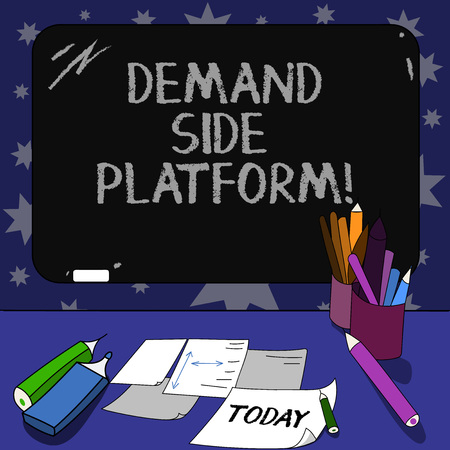 Conceptual hand writing showing Deanalysisd Side Platform. Business photo text Software that is used for programmatic ad buying Mounted Blackboard with Chalk Writing Tools Sheets on Desk Stock Photo