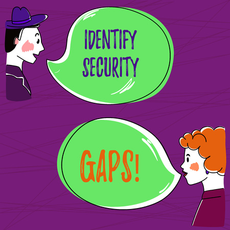 Text sign showing Identify Security Gaps. Conceptual photo determine whether the controls in place are enough Hand Drawn Man and Wo analysis Talking photo with Blank Color Speech Bubble Imagens