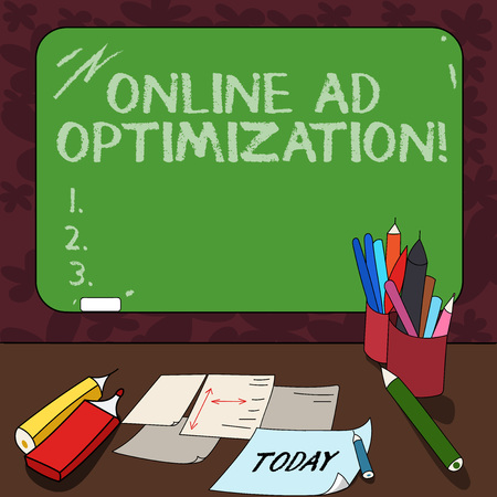 Word writing text Online Ad Optimization. Business concept for Improving the perforanalysisce of a text PPC advertisement Mounted Blank Color Blackboard with Chalk and Writing Tools Sheets on Desk Stock Photo