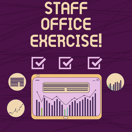 Conceptual hand writing showing Staff Office Exercise. Business photo showcasing Promoting physical fitness routine for office staff Digital Combination of Column Data Graphic Chart on Tablet