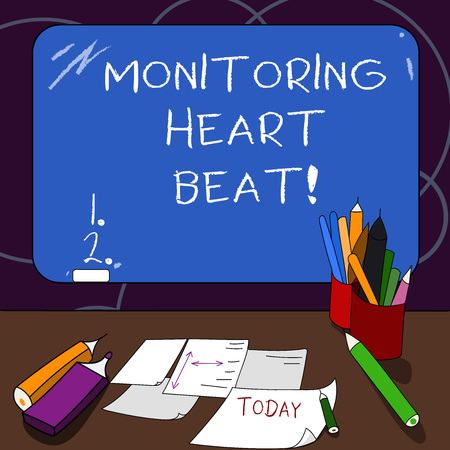 Handwriting text Monitoring Heart Beat. Concept meaning Measure or record the heart rate in real time Mounted Blank Color Blackboard with Chalk and Writing Tools Sheets on Desk Imagens