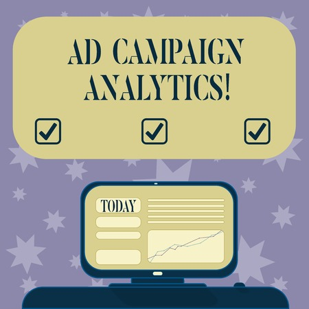 Conceptual hand writing showing Ad Campaign Analytics. Business photo text monitor campaigns and their respective outcomes Mounted Computer Screen with Line Graph on Desk Text Box Stock Photo