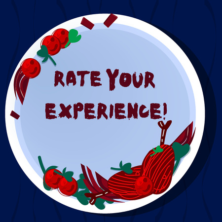 Handwriting text Rate Your Experience. Concept meaning Evaluate the knowledge or skill you have gained Hand Drawn Lamb Chops Herb Spice Cherry Tomatoes on Blank Color Plate Foto de archivo