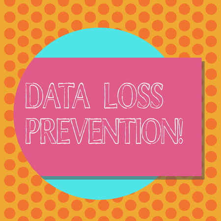 Writing note showing Data Loss Prevention. Business photo showcasing Software that detects potential data breaches Rectangular Color Shape with Shadow Coming Out from a Circle Stock Photo