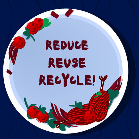Handwriting text Reduce Reuse Recycle. Concept meaning Cut down on the amount of garbage we make each year Hand Drawn Lamb Chops Herb Spice Cherry Tomatoes on Blank Color Plate Archivio Fotografico