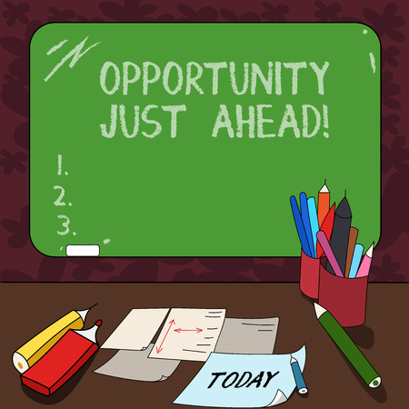 Word writing text Opportunity Just Ahead. Business concept for Success is waiting in front of you Keep moving Mounted Blank Color Blackboard with Chalk and Writing Tools Sheets on Desk