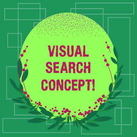 Writing note showing Visual Search Concept. Business photo showcasing perceptual task requiring attention for an object Blank Color Oval Shape with Leaves and Buds as Border for Invitation