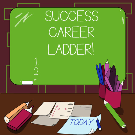 Writing note showing Success Career Ladder. Business photo showcasing Movement up of the career to the corporate ladder Mounted Blackboard with Chalk Writing Tools Sheets on Desk Фото со стока