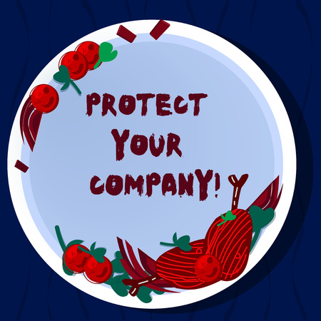 Handwriting text Protect Your Company. Concept meaning maintaining a positive reputation of the company Hand Drawn Lamb Chops Herb Spice Cherry Tomatoes on Blank Color Plate Stock Photo