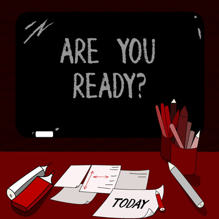 Conceptual hand writing showing Are You Readyquestion. Business photo showcasing Asking if already prepared to do or hear something Mounted Blackboard with Chalk Writing Tools Sheets on Desk 版權商用圖片