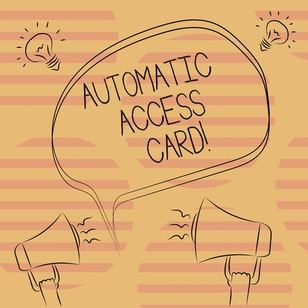 Word writing text Automatic Access Card. Business concept for used to control entry into exterior doors of buildings Freehand Outline Sketch of Blank Speech Bubble Megaphone Sound Idea Icon Stock Photo