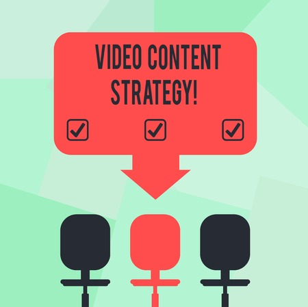 Conceptual hand writing showing Video Content Strategy. Business photo text use specific video format according to buying stages Space Color Arrow Pointing to One of the Three Swivel Chairs