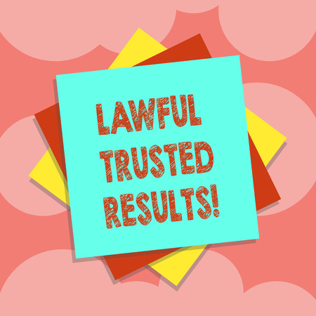 Writing note showing Lawful Trusted Results. Business photo showcasing Closing deal secure by legal contracts and agreement Multiple Layer of Sheets Color Paper Cardboard with Shadow Stock fotó
