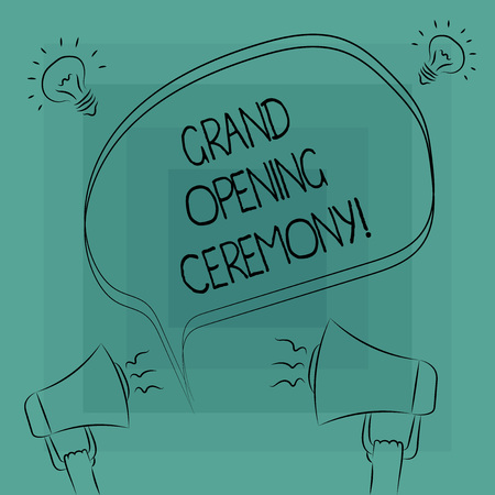 Conceptual hand writing showing Grand Opening Ceremony. Business photo text mark the opening of a new business or public place Freehand Outline Sketch of Speech Bubble Megaphone Idea Icon