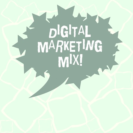 Writing note showing Digital Marketing Mix. Business photo showcasing Set of actions to promote brand in the market Blank Oval Color Speech Bubble with Stars as Outline photo Text Space