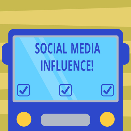 Text sign showing Social Media Influence. Conceptual photo Individuals ability to affect others thinking Drawn Flat Front View of Bus with Blank Color Window Shield Reflecting
