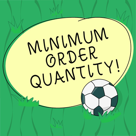 Word writing text Minimum Order Quantity. Business concept for lowest quantity of a product a supplier can sell Soccer Ball on the Grass and Blank Outlined Round Color Shape photo