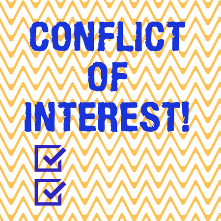 Conceptual hand writing showing Conflict Of Interest. Business photo text interests of public duty versus private interests Horizontal Zigzag Wavy Parallel Line in Seamless Repeat Pattern