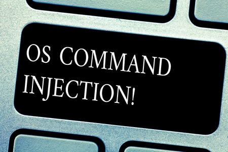 Handwriting text Os Comanalysisd Injection. Concept meaning Attack technique used for illegal execution of comanalysisds Keyboard key Intention to create computer message pressing keypad idea