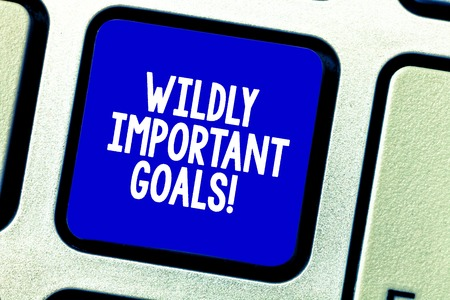 Conceptual hand writing showing Wildly Important Goals. Business photo showcasing most important objective that needs special attention Keyboard key Intention to create computer message idea