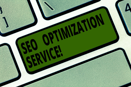 Conceptual hand writing showing Seo Optimization Service. Business photo text Aim to increase the visibility of a website Keyboard key Intention to create computer message idea Banque d'images