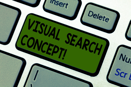 Writing note showing Visual Search Concept. Business photo showcasing perceptual task requiring attention for an object Keyboard key Intention to create computer message pressing keypad idea 版權商用圖片