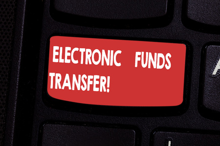 Handwriting text Electronic Funds Transfer. Concept meaning Transfer of funds through an electronic terminal Keyboard key Intention to create computer message pressing keypad idea