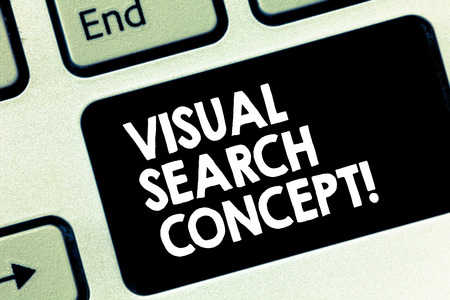 Conceptual hand writing showing Visual Search Concept. Business photo text perceptual task requiring attention for an object Keyboard key Intention to create computer message idea