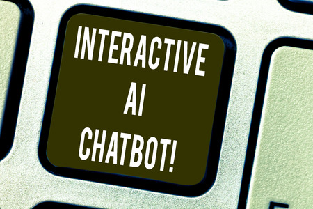 Conceptual hand writing showing Interactive Ai Chatbot. Business photo text computer program that simulates huanalysis conversation Keyboard key Intention to create computer message idea