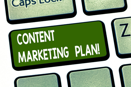 Conceptual hand writing showing Content Marketing Plan. Business photo showcasing list of actions in delivering valuable content Keyboard key Intention to create computer message idea