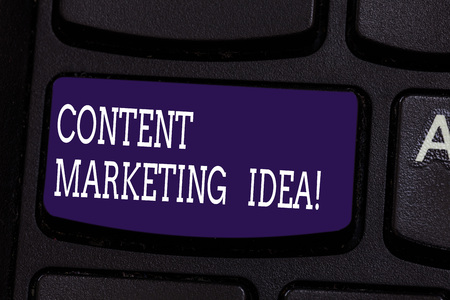 Text sign showing Content Marketing Idea. Conceptual photo focused on creating and distributing valuable content Keyboard key Intention to create computer message pressing keypad idea