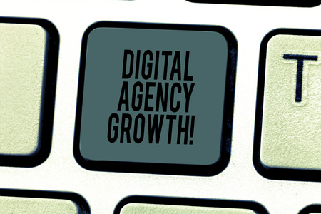 Conceptual hand writing showing Digital Agency Growth. Business photo text Progress of graphic design and copywriting business Keyboard key Intention to create computer message idea Stock Photo