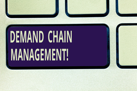 Text sign showing Deanalysisd Chain Management. Conceptual photo Relationships between suppliers and customers Keyboard key Intention to create computer message pressing keypad idea Stock fotó